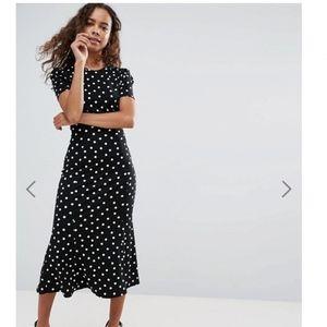 ba61e0ab189 ASOS PETITE City Maxi Tea Dress In Polka Dot Print